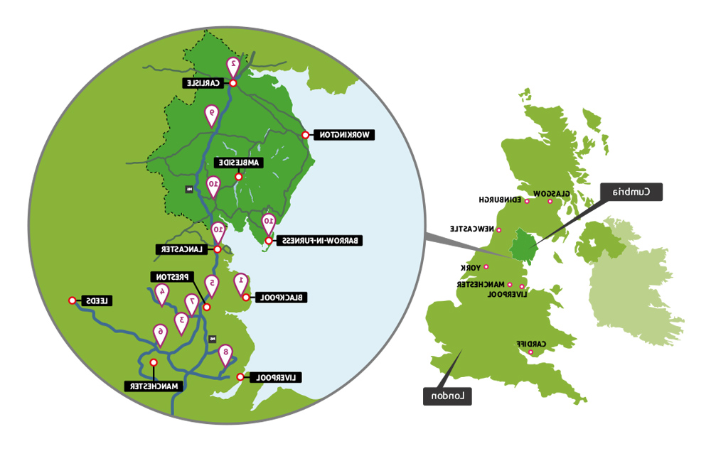Map of the nursing placement locations