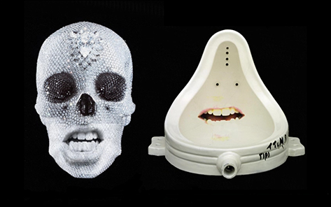 A urinal with a face and a glamorous skull